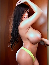 Leanne busting out of her yellow bra