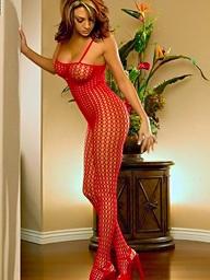 Foxes.com: Macy Sky - Big Tits Fox Red Fishnet Bodystocking Crotchless