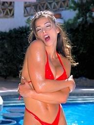 Foxes.com: Cori Nadine - Red Micro Bikini Coddle Poolside